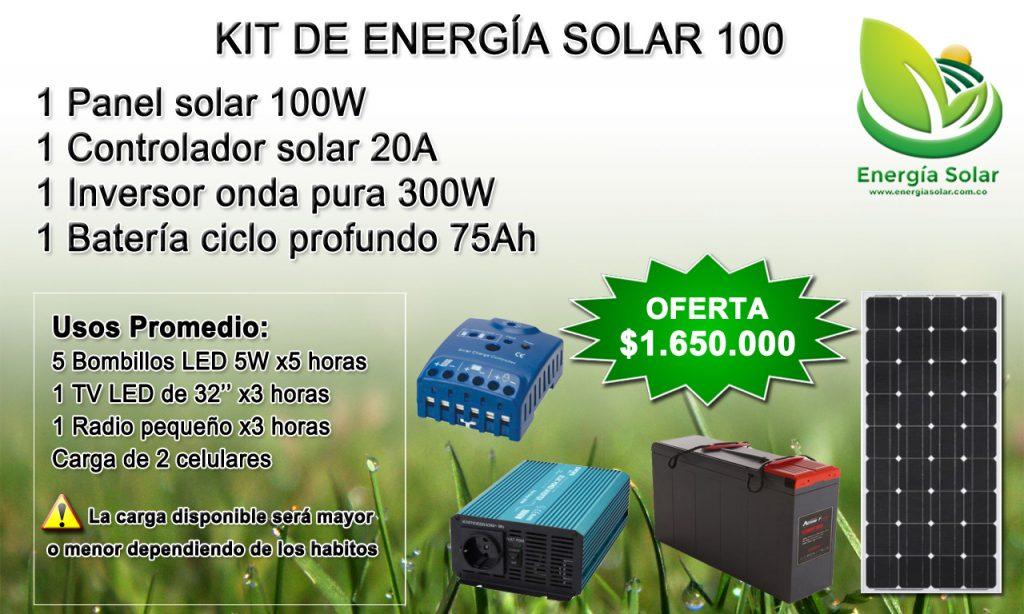 Panel solar 100W, controlador, inversor y batería - kit de energía en Colombia