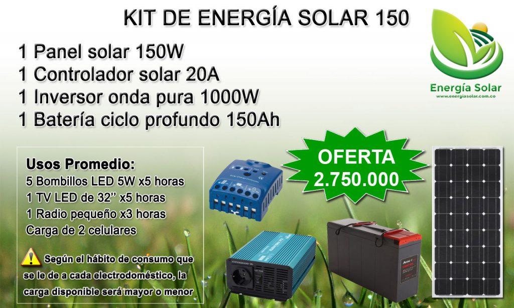 Kit de energia solar 150W medellin antioquia colombia