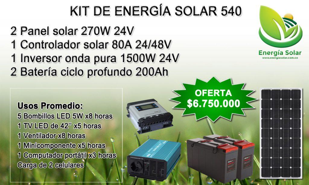 Kit de energia solar 540 Vatios - Medellin Colombia