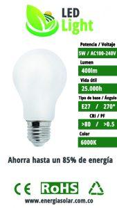 Bombillo LED 5W luz blanca energia solar medellin colombia