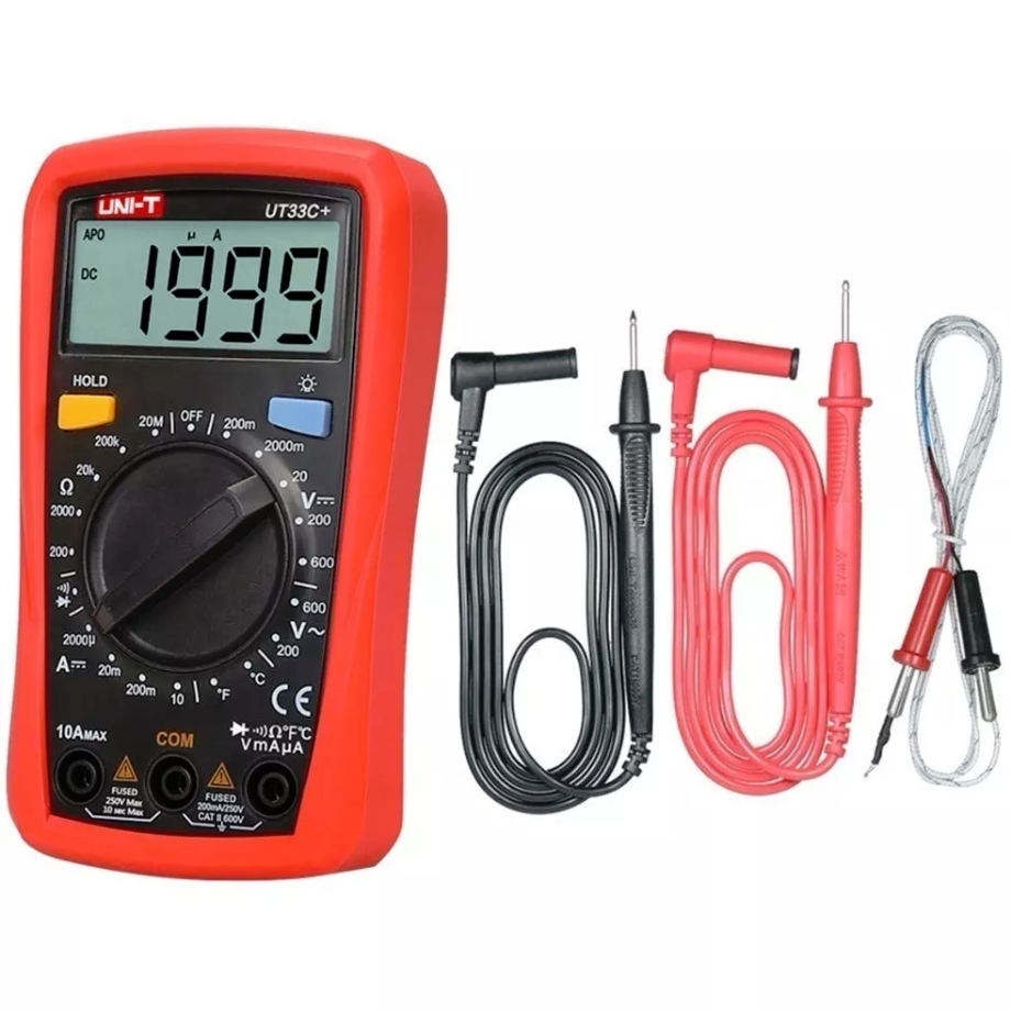 multimetro unit ut33c+ tester voltaje AC/DC termocupla buzzer